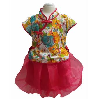 Harga Freeshop Setelan Kids Girl CNY Flower + Skirt Puring F726
