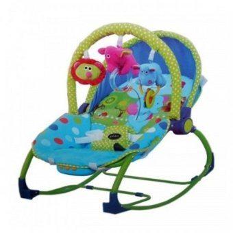 Harga Pliko Bouncer Rocking Chair Hammock 3 Phases Elephant Blue