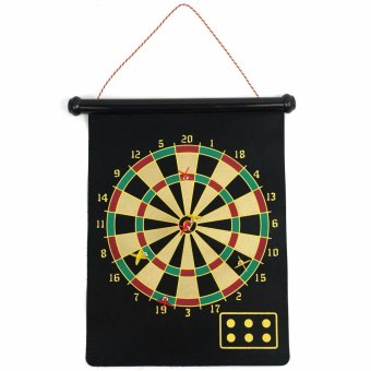 Harga Hoshizora Double Sided Hanging Magnetic Dart Board Set Game 17 Inch with 6 Magnetic Arrow - Hitam