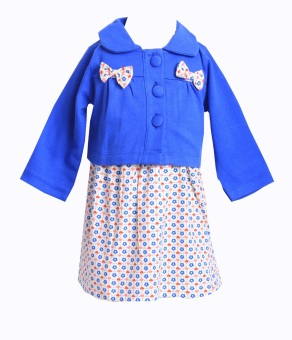 Harga Freeshop Dress Flower Cardigan Ribbon F910 - Biru