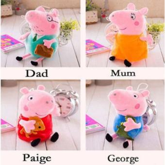 "Harga 4Pcs Peppa Pig Family Plush Stuffed Toy 12"" DADDY MOMMY 8"" PEPPA GEORGE - intl"