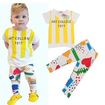 Harga 2017 new fashion short sleeve children clothing kids clothes boy sets suits 2 pcs baby boys summer Leisure Set - intl