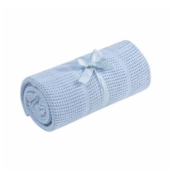 Harga Mothercare Crib/Moses Basket Cellular Cotton Blanket - Blue