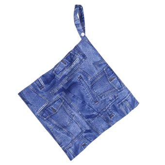 Harga 28*30cm Reusable Waterpoof Baby Wet Nappy Bag Zipper Closure Carry Pouch #Jean Cloth - intl