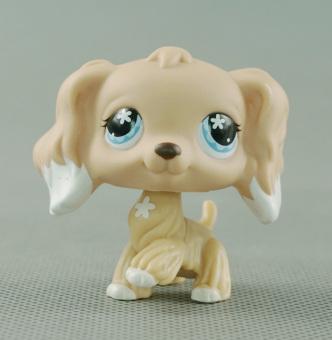 ... LPS Littlest Pet Shop 748 Girl toys Cream Tan Cocker Spaniel Dog Blue Flower Eyes