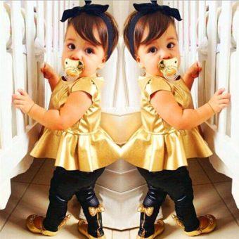 Baju Bayi Perempuan gaun + kaki celana pakaian sederhana set pakaian 2 buah Playsuits