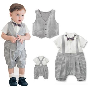 Harga Belle Maison - Baby Boys - Tie and Vest - Formal Romper - Abu-abu