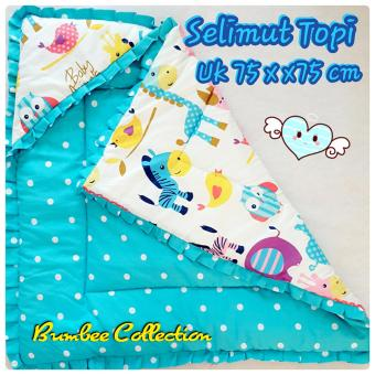 Bumbee Collections selimut topi motif animal grow-polka blue