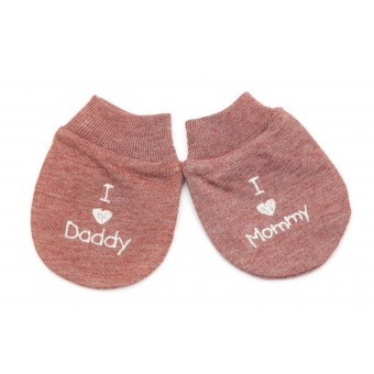 Harga Cribcot Sarung Tangan I Love Daddy & I Love Mommy - Misty Brown Broken White