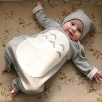 Harga ilovebaby Cute Totoro Grey 6-24 Months Long Sleeved Baby Jumpsuit Romper with Hat