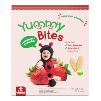 Harga Yummy Bites Baby Rice Cracker 50 gram - Strawberry
