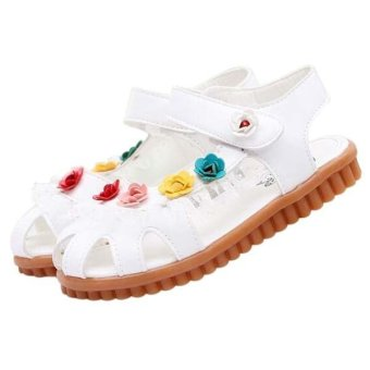 Harga The girl's lace flower sandals Children's Rome shoes Toddler Anti-skip cuasal shoes (White)