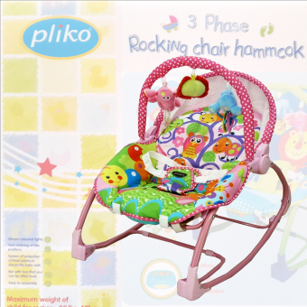 Harga Pliko NEW PK-308B Bouncer 3-Phase Rocking Chair Hammock - Kursi Ayunan Bayi - Merah Muda