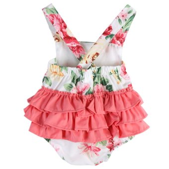 Harga Baby Girls Sleeveless Floral Rompers Jumpsuit Bodysuit - intl