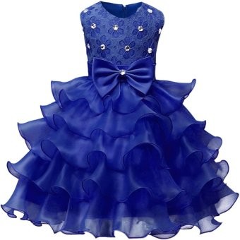 Harga Kids Girls Sleeveless Princess Flower Chiffon Formal Dress - intl