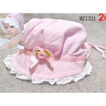 Infant Baby Hats Striped Flower Cotton Newborn Baby Cotton High Quality Hat - intl