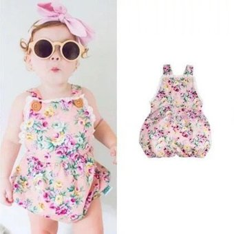 INS Super Cute Baby Girls Sleeveless Strap Bodysuit Romper Fashion Floral Printing Jumpsuit - intl
