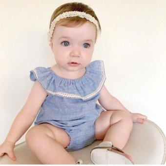 INS Super Fashion bayi gadis lengan gaun baju monyet Denim Bergaya Jumpsuit dengan celana