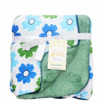 Just To You Selimut Bayi Double Fleece Flower Blue