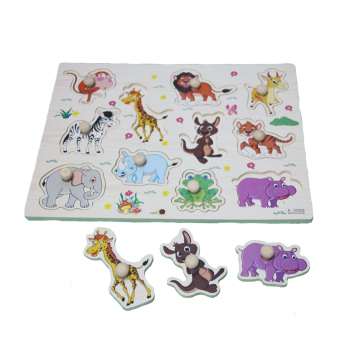 Kayla Org Mainan Edukasi Puzzle Knob Kayu Binatang Hutan