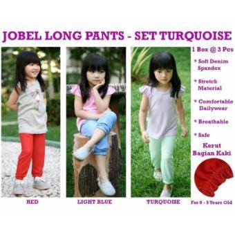 KAZEL JOBEL LONG PANTS/ CELANA PANJANG BABY GIRL 3IN1 Set Turqoise - Size XXL