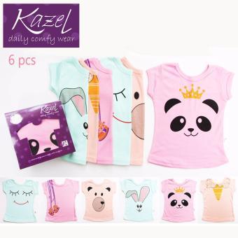 Harga Kazel Tshirt Girl Panda Edition isi 6 pcs - Newborn