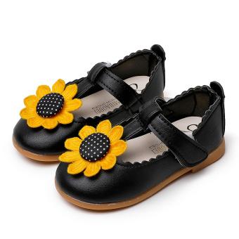 Kecil anak tergelincir sepatu kulit kecil sepatu bunga putri