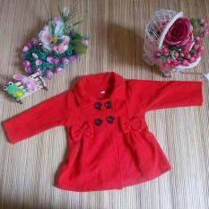 kembarshop - jaket bayi mantel bayi hangat lembut merah 0-12 bulan