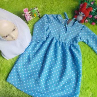 kembarshop - Set Gamis Bayi Polka Soft Blue Plus Khimar 1-2 Tahun