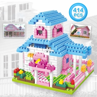 kid Puzzle Toys Building Games Small Particles Building Blocks GirlStacking House Princess Villa Building Blocks Blue - intl