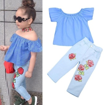 Kids Baby Girl Outfit Off Shoulder Shirt T-shirt Tops+Long Pants Jeans Clothes - intl