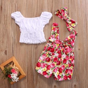 Kids Baby Girl Top T shirt+Floral Suspender Short Pants 3pcs Outfits Set Clothes 0-4Y- intl - 2