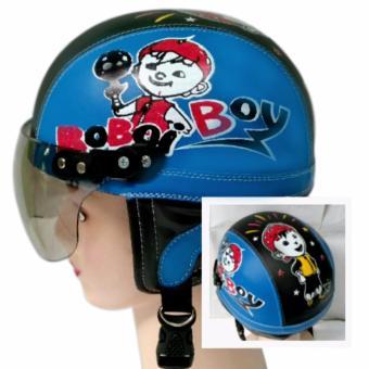 KiosStore - Helm Anak Lucu Unik Motif Boboi Usia 1 - 4 Tahun Biru Hitam