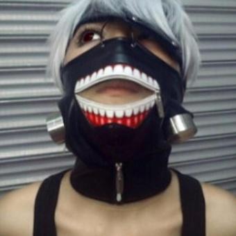 Detail Gambar Kualitas tinggi Clearance Tokyo Ghoul 2 Kaneki Ken masker Adjustable Zipper masker PU kulit Lucu masker dan Variasi Modelnya
