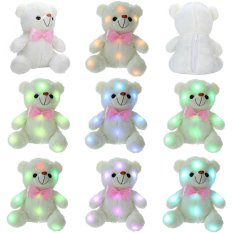 leegoal LED Light Up Glow Teddy Bear Stuffed Plush Toy Dolls With Colorful Flash LED Light, Birthday Gift/Christmas Present For Kids, White 8.7x6.3inch - intl