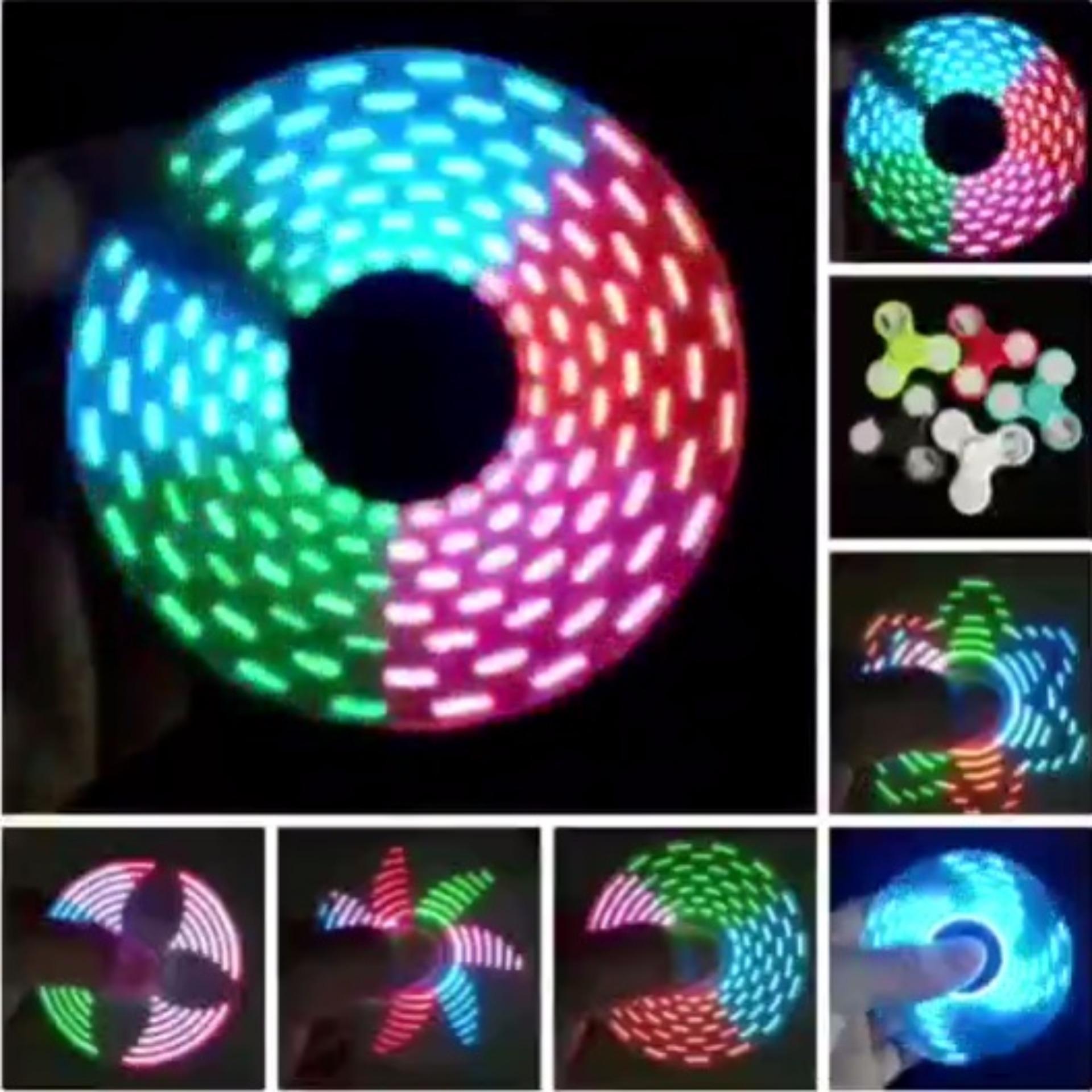 Lucky LED Glow Nyala Gambar Warna Warni Fidget Spinner Hand Spinner Toys Focus Games Mainan Spiner