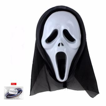BELI Lucky Topeng Scream – Crazy Ghost Horror Scream Costume Halloween Dress Carnival Cosplay Mask – 1 Pcs + Free Ikat Rambut Polkadope – 1 Pcs TERPOPULER