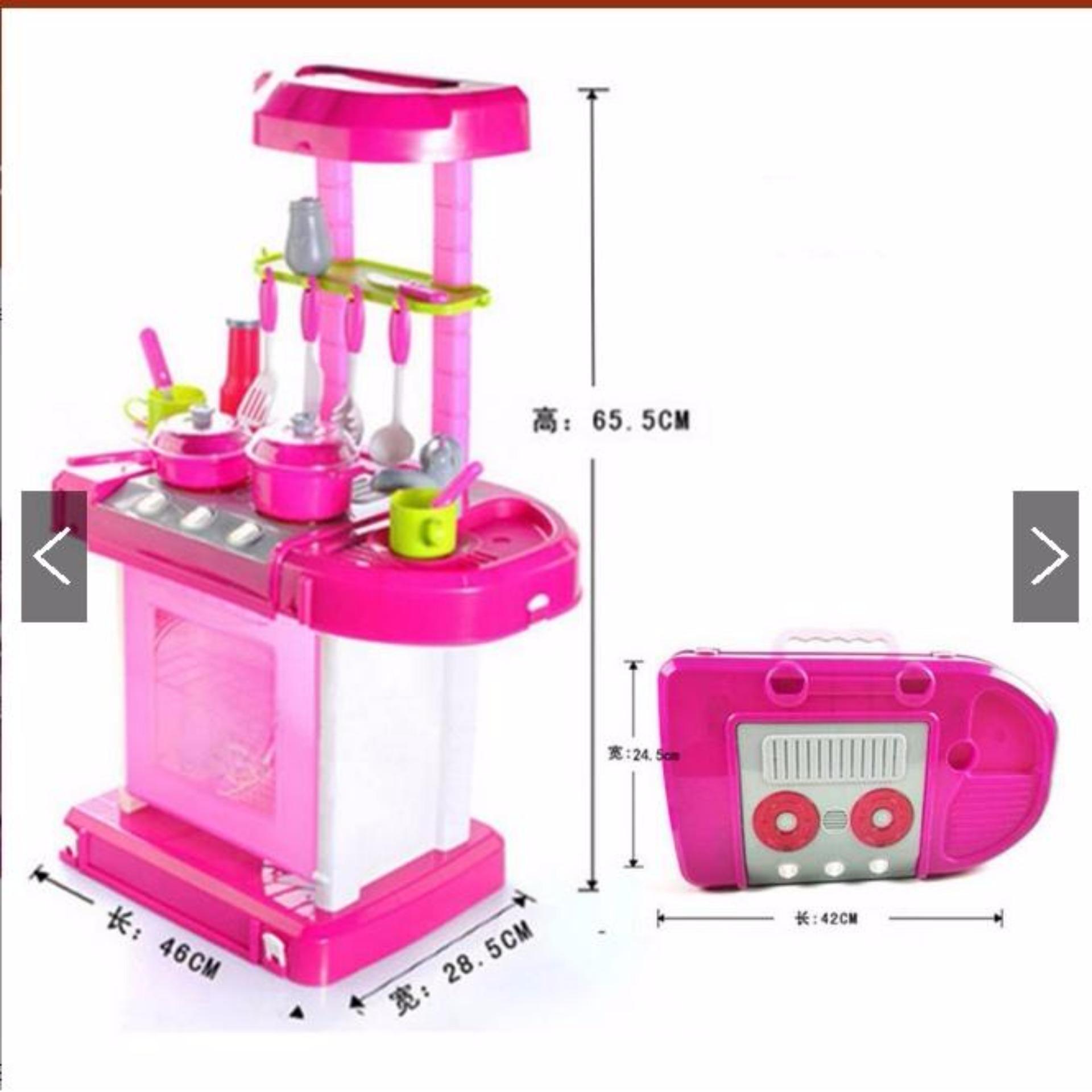 Diskon Penjualan Mainan Anak Cewek Kitchen Set Koper Warna Pink