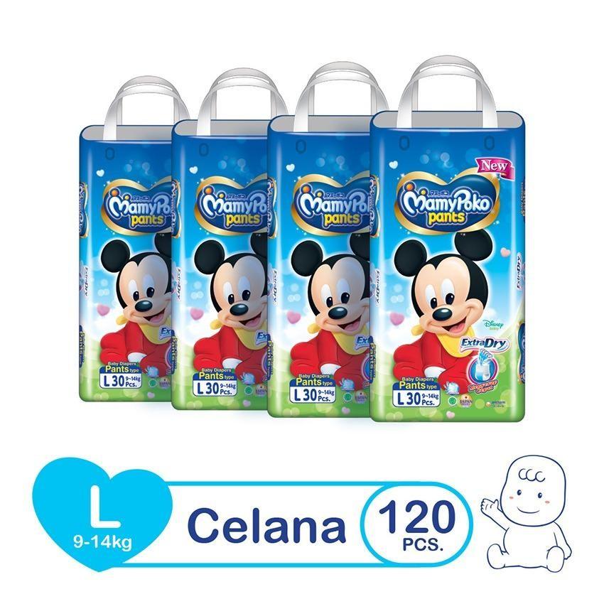 Mamypoko Popok Pants Extra Dry - L 30 - Karton isi 4 [New Packaging 2018