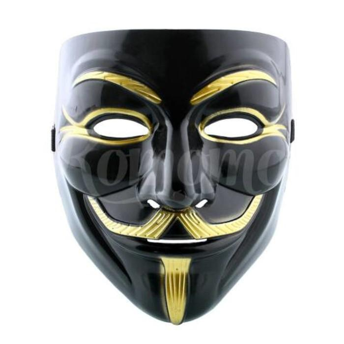 Mask V For Vendetta Guy Fawkes Anonymous Hitam/Topeng Anonymous Black - 6366C6 - Original