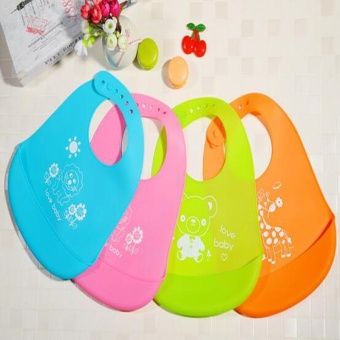 New Silicone Waterproof Leather Pocket Pocket Baby Bib Rice Children Prints Animal Solid Bib Silica Gel - intl