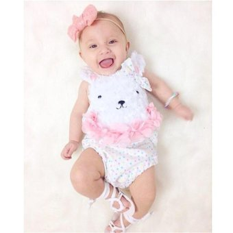 Newborn Baby Girls Tops Bear Print Bodysuit Romper Jumpsuit OutfitClothes - intl