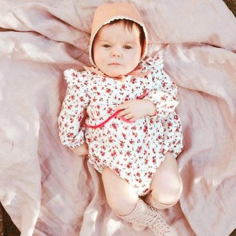 Bayi Baru Lahir Bayi Perempuan Ruffle Lengan Bunga Ikatan Simpul Baju Monyet Pakaian Pakaian-Intl