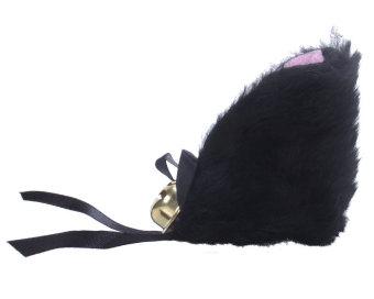 niceEshop serat cosplay kucing telinga dengan klip rambut untuk kostum Halloween (Hitam Dan Berwarna Merah Muda, Set 2)