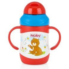 Nuby Stainless Steel Twin Handle Insulated Straw Cup 220ml - Bear