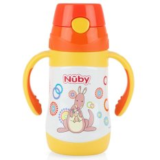 Nuby Stainless Steel Twin Handle with Push Button 280ml - Kangaroo