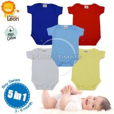 PAKAIAN Bayi Boy 5 in 1 Jumsuit 100% cotton Lembut Dingin / Baju Bayi / Kaos bayi jumper / bodysuits BC-01 POLOS - BOY SERIES