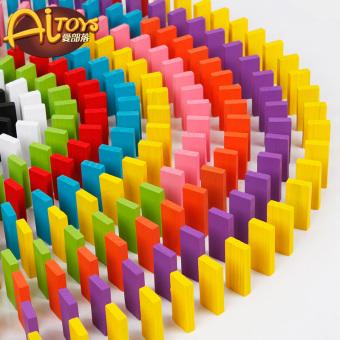 Pendidikan blok bangunan kayu domino domino blok blade mainan