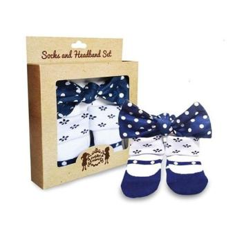 Petite Mimi Sock & Headband Set 12-24M Navy Blue