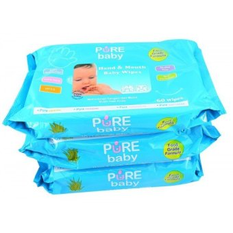Pure Baby Hand & Mouth Wipes 60's Aloe Vera